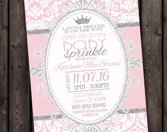 princess baby shower invitation pink and silver and white, baby shower invitations, royal princess baby sprinkle, customized wording