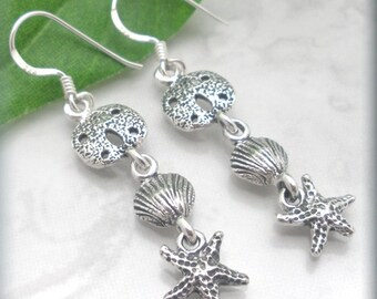 Summer Earrings, Beach Jewelry, Ocean Earrings, Sterling Silver, Sanddollar, Sand Dollar, Seashell, Sea Shell, Starfish, Nautical