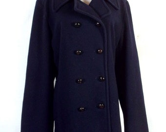 vtg 80s L.L. Bean Navy Blue ladies Wool Pea Coat Double Breasted sz 48 Bust