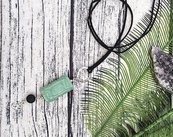 Handcraft jewelry, boho necklace, diffuser necklace, carved Aventurine pendant, om necklace