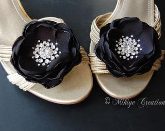 Wedding  Black Shoe Clips, Bridal Hair Flowers Hair Piece, Sash Accessory 2 Piece Set - Black Petals