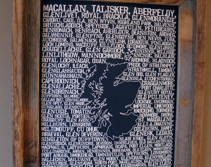 Whisky Distilleries of Scotland Word Map (Dark Blue) - Unframed