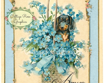 French AMOUR Forget me nots and dachshund dog  vintage shabby cottage Large digital download ECS buy 3 get one free