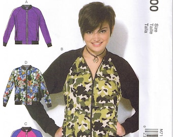 Misses Semi Fitted Bomber Jackets Unlined Zip Up Zipper Front Collar Hem Band Pockets McCalls 7100 Sewing Pattern XS S M 4 6 8 10 12 14