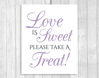 Love is Sweet Take A Treat 5x7, 8x10 Printable Wedding or Bridal Shower Candy Buffet Sign - Black and Lavender - Instant Download