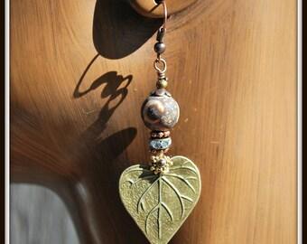 Leaf Earrings, Bronze Leaf Earrings, Matte Agate Earrings, Agate Earrings, Matte Eye Agate Earrings, Long Leaf Earrings, Matte Eye Agate