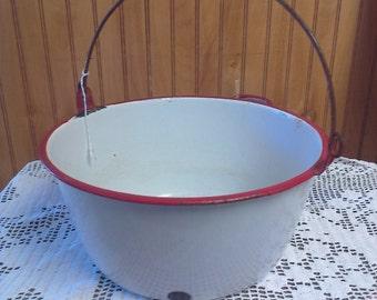 Enamel Pot, Enamel Mid-Size Pot, Enamel Bowl, Vintage Pot, Farmhouse Decor, Pea Shelling Bucket