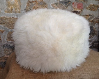 Sheepskin Pouffe/Pouf Natural Cream White with a Dorset story
