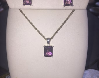 Silver and amethyst set