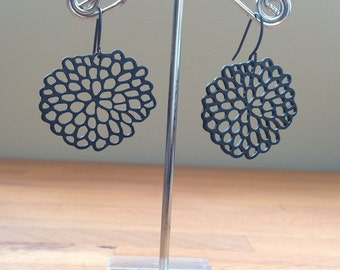 Jet black floral filigree earrings