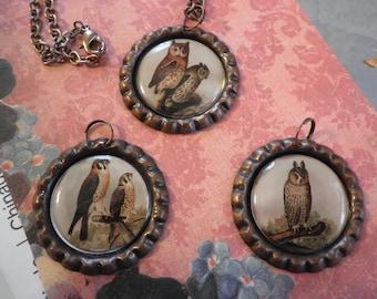 Sale Vintage Owls Photo Necklace 3 inter-changable Pendants