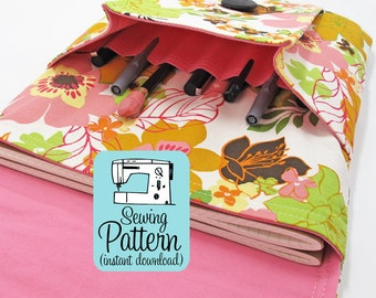 Idea Pouch PDF Sewing Pattern   Sew a large two pocket pouch using this intermediate level sewing project tutorial.