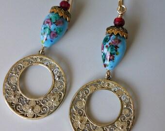 Antique Vermeil Filigree Czech Glass Earrings