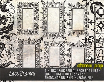 Instant Download // Fancy Lace Frames Borders // Digital File Photoshop Brushes // Vector // Black Line Drawings