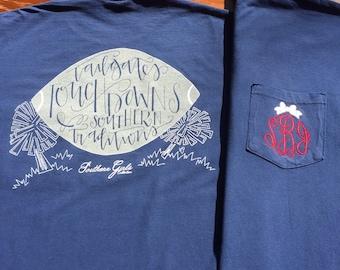 Monogram Football Shirt - Southern Traditions Design Shirt - Southern Girls Collection Shirt - Monogrammed Long Sleeve Shirt - Football