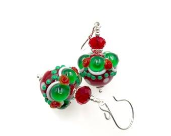 Handmade Earrings, Lampwork Earrings, Red Green Earrings, Dangle Drop Earrings, Glass Bead Earrings, Beadwork Earrings, Lampwork Jewelry