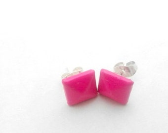 Hot Pink Stud Earrings - Small Alloy Pyramid Studs