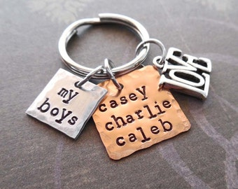 My Boys Keychain - Love My Boys Personalized Names - Boy Names Square Keychain - Love Boys Personalized Hand-Stamped Keychain-  K91