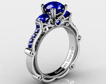 Classic Italian 14K White Gold 1.5 Ct Blue Sapphire Three Stone Engagement Ring G1108-14KWGSBS