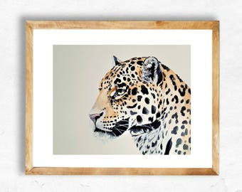 Printable Art, Instant Download, Digital Download, Watercolor Art Print, Watercolor Printable, 8x10, Jungle Theme, Leopard, Wild Animal Art