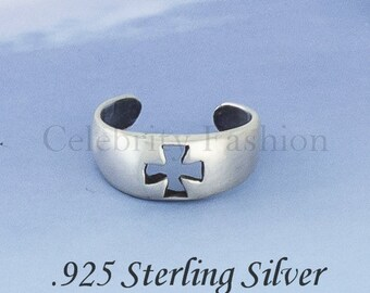 CROSS cut out Adjustable Toe Ring : 925 Sterling Silver