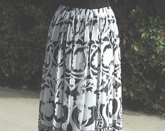Prom Gown Border Print Chiffon Skirt Black MM Style Bodice with Jet Jewelry Size 10  Item #610   Gowns /Dresses