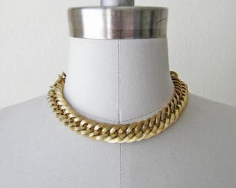 1950s vintage gold chunky coro vendome choker chain necklace