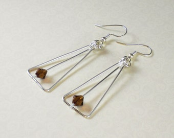 Earrings - Swarovski crystals in hand-forged silver triangles