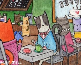 "2""x3"" Kitty Coffee Shop II, Framed, Original Watercolor Painting"