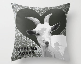 Totes Ma Goats, Grey, Pillow Cover,6 pillow sizes, home decoration,rustic,farm,white,Animal,country living,decorative,typography, funny goat