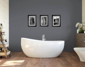 Funny Bathroom Art, Bathroom Wall Art, 3 Print Set, Framed Prints, Bathroom Decor, Modern Farmhouse, Black and White Art