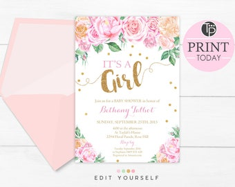 Floral Baby Shower Invitations, its a Girl Baby Shower Invitation, Instant Download, Girl Baby Shower Invitation, Baby Girl Shower, 0207