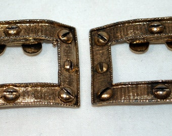 Vintage Musi shoe clips with industrial screw head design Gold Tone Goldtone