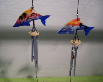 Wood Chime Handpainted Dolphins Chimes
