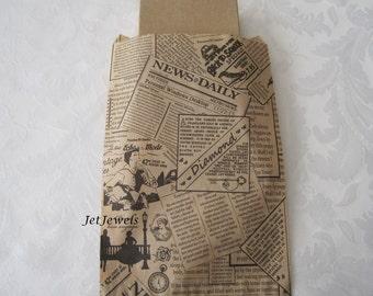 100 Paper Bags, Newspaper Bags, Newsprint Bags, Brown Paper Bags, Candy Bags, Gift Bags, Merchandise Bags, Wedding Favor Bags 6x9