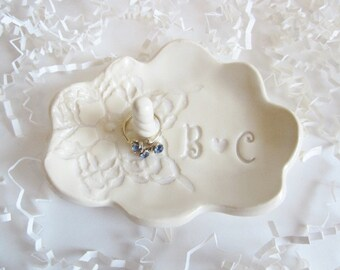 Ring dish, ring holder gift, Bride to be gift, unique engagement gifts His and Hers monogram ring dish, Bridal shower gift, Ceramic dish
