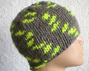 Gray neon yellow beanie hat, skull cap, gray hat, winter hat, toque, mens womens hat, mens gray hat, skateboard hiking, chemo cap
