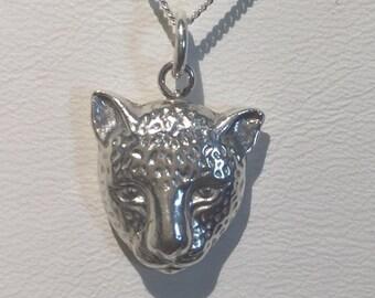 Silver PMC Leopard Head Pendant