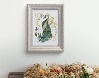 Peacock // home decor// Art Print// boho // peacock art // wall art  13x19, 11x14, 8.5x11, 8 x 10, 5x7