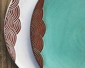 Pair of Custom Dinner Plates (READ ITEM DETAILS) - Terracotta Dishware - Geometric Pattern - Red Clay - Boho - Southwestern