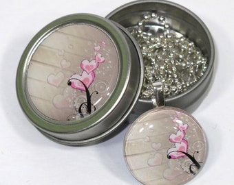Hearts and Swirls necklace and matching tin set