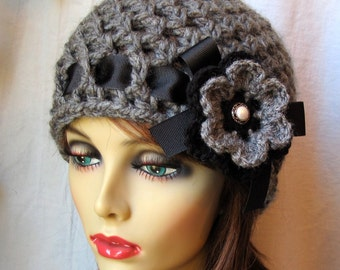 SALE Crochet Hat, Charcoal Grey Womens Hat, Beanie, Crocheted Flower, Chunky, Warm. Teens, Winter, Ski Hat, Birthday Gifts for Her JE407BRF