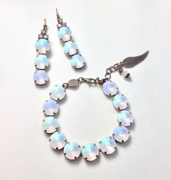 "Swarovski Crystal 12MM Bracelet & Earrings - Designer Inspired - Gorgeous Glowing Crystal Matte AB "" - "" Angel Wings"" - FREE SHIPPING"