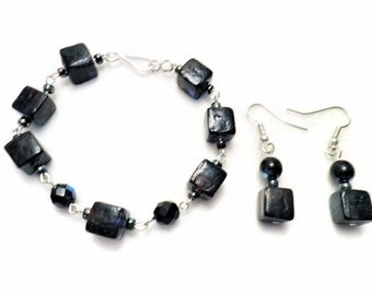 Dark Blue Cube and Crystal Bracelet and Earring Set