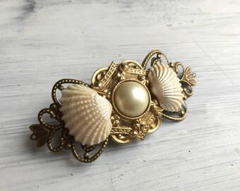Beach Wedding No.17 - Seashell, Vintage Pearl and Gold Assemblage Bridal Headpiece for a Beach / Coastal Wedding CUSTOM PIECE