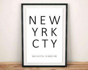 New York City Print, NYC Poster, New York Wall Art, Black and White, Modern Art, Minimalist Decor, New York City Decor, Instant Download