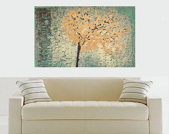 Art ORIGINAL Green Textured Tree Nature Painting Modern Landscape Canvas Home Decor Art Made To Order