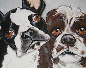 Pet Portrait Painting Custom  12x12 handpainted