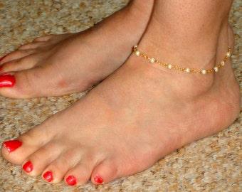Gold pearl anklet, Pearl ankle bracelet, Ankle jewelry, Gold ankle bracelet Ankle bracelet UK, Gifts