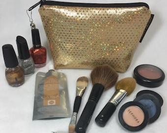 Gold Make-up Bag, Gold sparkle bag, Gold shimmer bag, gold bling bag, Gold cosmetics bag, gold tool bag, gold purse,